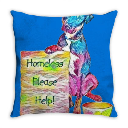 Homeless Rescue Dog Holding S Throw Pillow Designed By Kemnabi