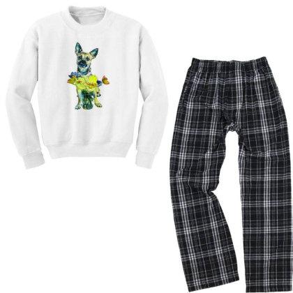 Cute Dog With Glass Jar Fille Youth Sweatshirt Pajama Set Designed By Kemnabi