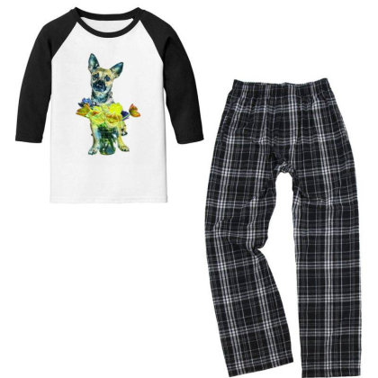 Cute Dog With Glass Jar Fille Youth 3/4 Sleeve Pajama Set Designed By Kemnabi