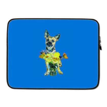 Cute Dog With Glass Jar Fille Laptop Sleeve Designed By Kemnabi
