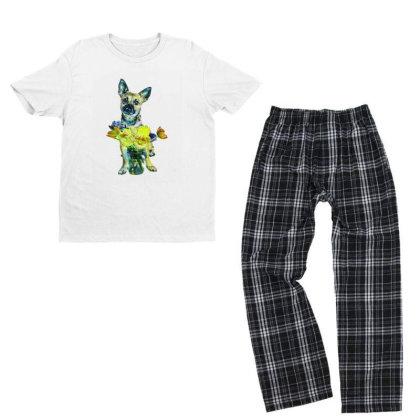 Cute Dog With Glass Jar Fille Youth T-shirt Pajama Set Designed By Kemnabi