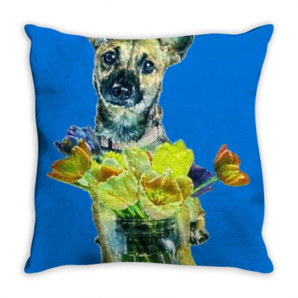 Cute Dog With Glass Jar Fille Throw Pillow Designed By Kemnabi