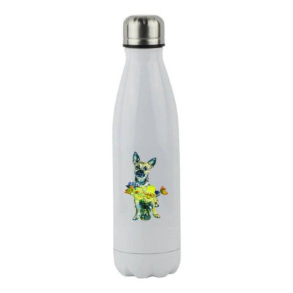 Cute Dog With Glass Jar Fille Stainless Steel Water Bottle Designed By Kemnabi