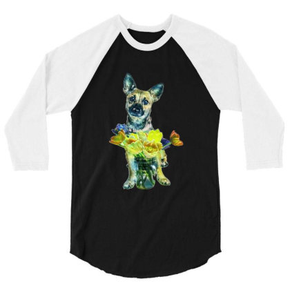 Cute Dog With Glass Jar Fille 3/4 Sleeve Shirt Designed By Kemnabi