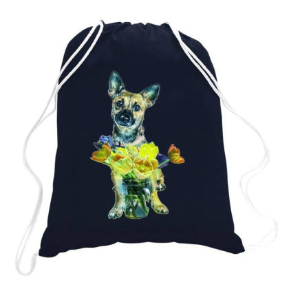 Cute Dog With Glass Jar Fille Drawstring Bags Designed By Kemnabi