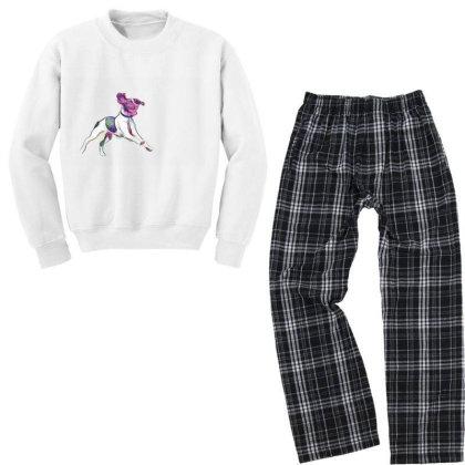 Happy And Active Wet Dog Runn Youth Sweatshirt Pajama Set Designed By Kemnabi