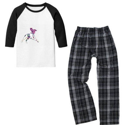 Happy And Active Wet Dog Runn Youth 3/4 Sleeve Pajama Set Designed By Kemnabi