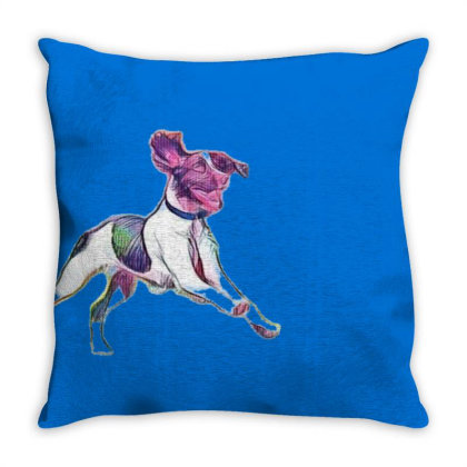 Happy And Active Wet Dog Runn Throw Pillow Designed By Kemnabi