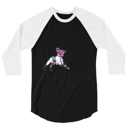 Happy And Active Wet Dog Runn 3/4 Sleeve Shirt Designed By Kemnabi