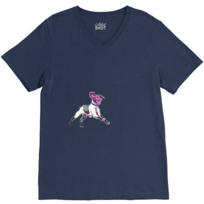 Happy And Active Wet Dog Runn V-neck Tee Designed By Kemnabi