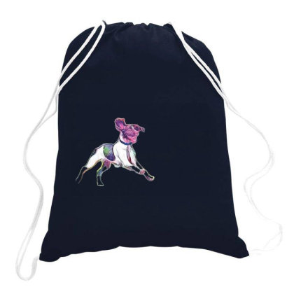 Happy And Active Wet Dog Runn Drawstring Bags Designed By Kemnabi