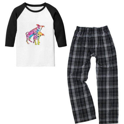 Two Playful Chihuahua Crossbr Youth 3/4 Sleeve Pajama Set Designed By Kemnabi