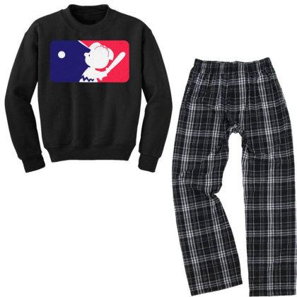 Cartoon Baseball Funny Youth Sweatshirt Pajama Set Designed By Star Store