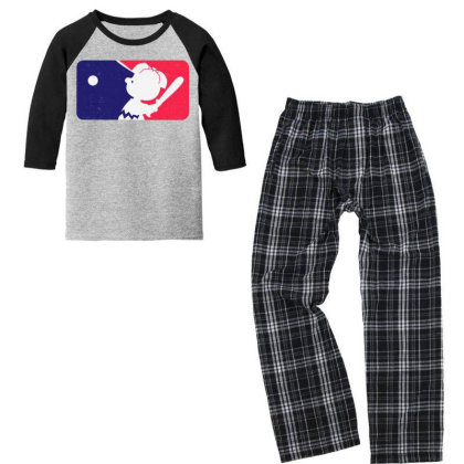Cartoon Baseball Funny Youth 3/4 Sleeve Pajama Set Designed By Star Store