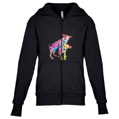 Two Playful Chihuahua Crossbr Youth Zipper Hoodie Designed By Kemnabi