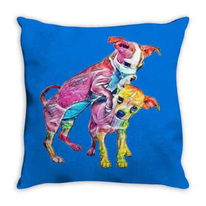 Two Playful Chihuahua Crossbr Throw Pillow Designed By Kemnabi