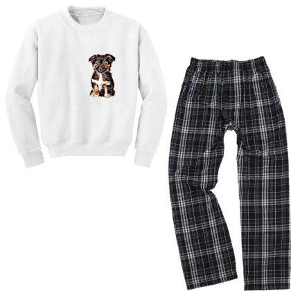 Cute Terrier Puppy Sitting On Youth Sweatshirt Pajama Set Designed By Kemnabi