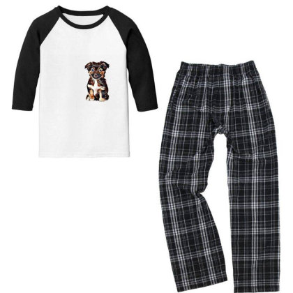 Cute Terrier Puppy Sitting On Youth 3/4 Sleeve Pajama Set Designed By Kemnabi