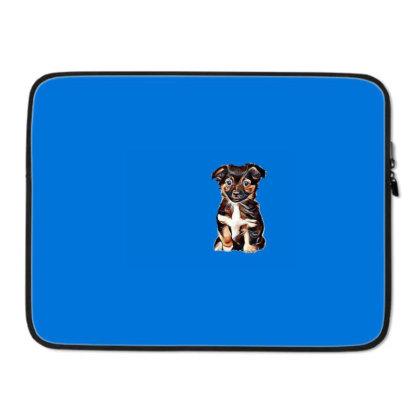 Cute Terrier Puppy Sitting On Laptop Sleeve Designed By Kemnabi