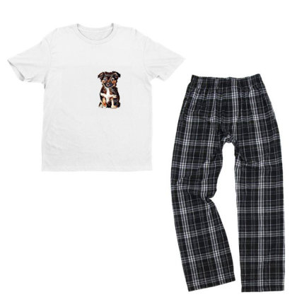 Cute Terrier Puppy Sitting On Youth T-shirt Pajama Set Designed By Kemnabi