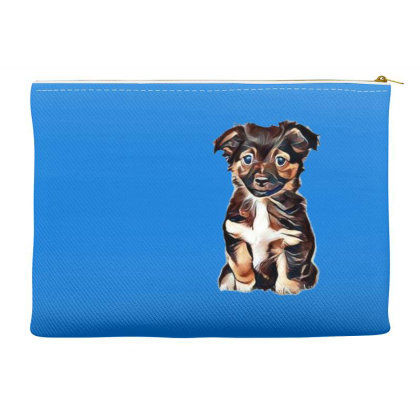 Cute Terrier Puppy Sitting On Accessory Pouches Designed By Kemnabi