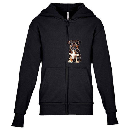 Cute Terrier Puppy Sitting On Youth Zipper Hoodie Designed By Kemnabi