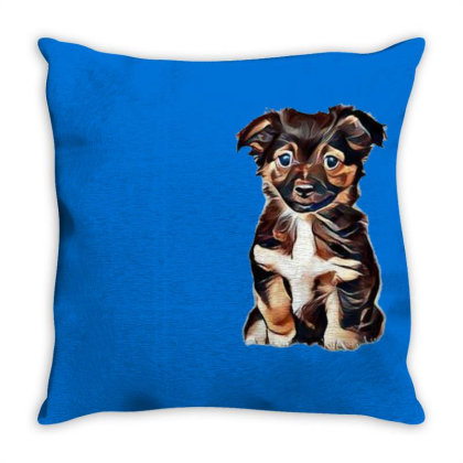 Cute Terrier Puppy Sitting On Throw Pillow Designed By Kemnabi