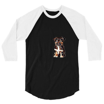Cute Terrier Puppy Sitting On 3/4 Sleeve Shirt Designed By Kemnabi