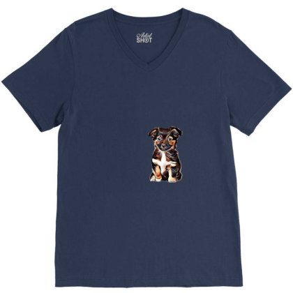 Cute Terrier Puppy Sitting On V-neck Tee Designed By Kemnabi