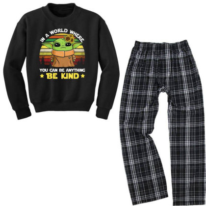 Be Kind Vintage Youth Sweatshirt Pajama Set Designed By Star Store