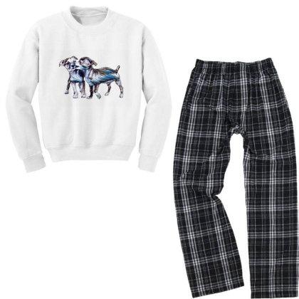 Two Playful Chihuahua Crossbr Youth Sweatshirt Pajama Set Designed By Kemnabi