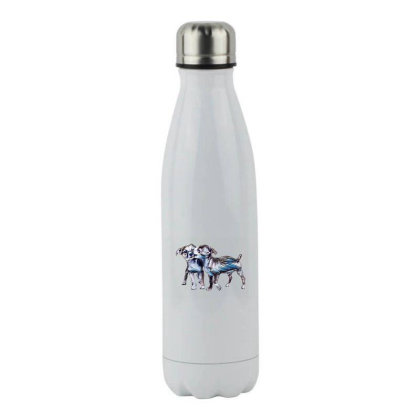 Two Playful Chihuahua Crossbr Stainless Steel Water Bottle Designed By Kemnabi