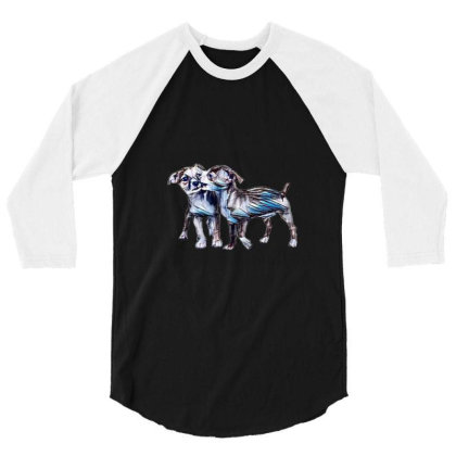 Two Playful Chihuahua Crossbr 3/4 Sleeve Shirt Designed By Kemnabi