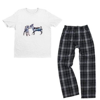 Two Playful Chihuahua Crossbr Youth T-shirt Pajama Set Designed By Kemnabi