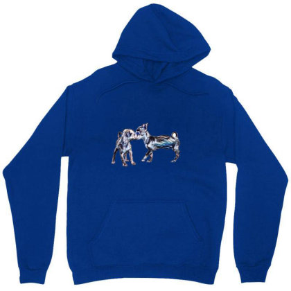 Two Playful Chihuahua Crossbr Unisex Hoodie Designed By Kemnabi