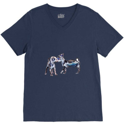 Two Playful Chihuahua Crossbr V-neck Tee Designed By Kemnabi