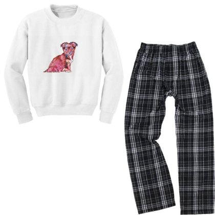 Cute Terrier Crossbreed Puppy Youth Sweatshirt Pajama Set Designed By Kemnabi