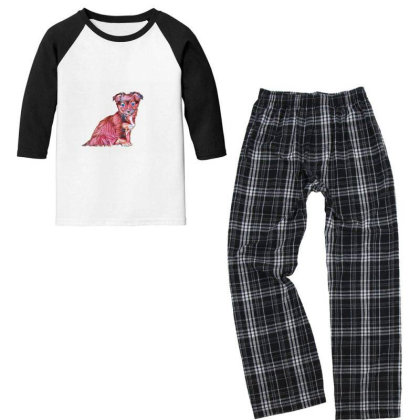Cute Terrier Crossbreed Puppy Youth 3/4 Sleeve Pajama Set Designed By Kemnabi