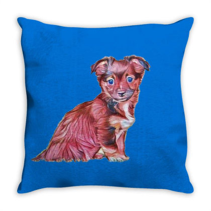 Cute Terrier Crossbreed Puppy Throw Pillow Designed By Kemnabi