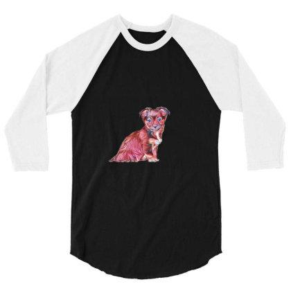 Cute Terrier Crossbreed Puppy 3/4 Sleeve Shirt Designed By Kemnabi
