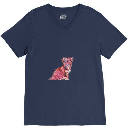 Cute Terrier Crossbreed Puppy V-neck Tee Designed By Kemnabi