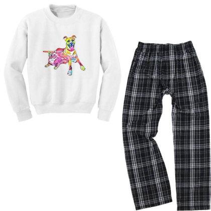 Tan Color Large Mixed Breed D Youth Sweatshirt Pajama Set Designed By Kemnabi