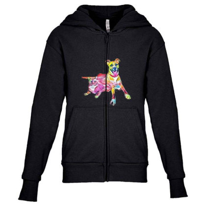 Tan Color Large Mixed Breed D Youth Zipper Hoodie Designed By Kemnabi