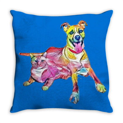 Tan Color Large Mixed Breed D Throw Pillow Designed By Kemnabi