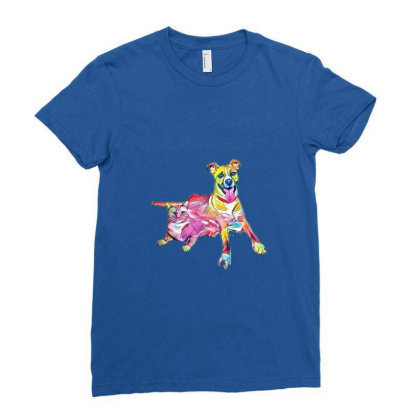 Tan Color Large Mixed Breed D Ladies Fitted T-shirt Designed By Kemnabi