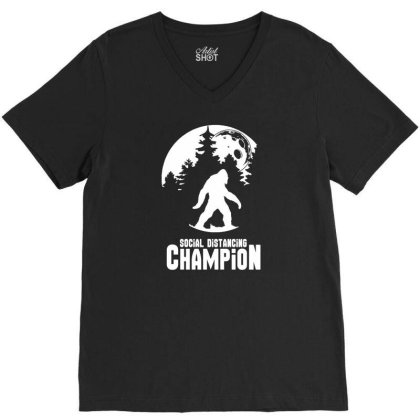 Bigfoot Social Distancing Champion Funny Tee Men's T Shirt V-neck Tee Designed By G3ry