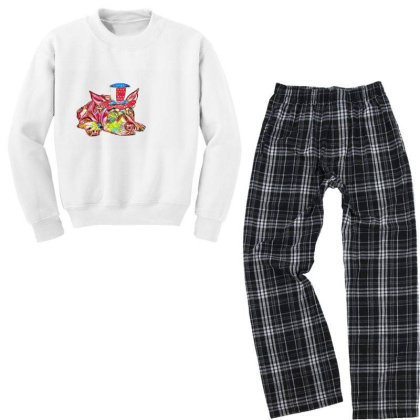 Dog Laying Flat Wearing Red, Youth Sweatshirt Pajama Set Designed By Kemnabi