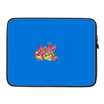 Dog Laying Flat Wearing Red, Laptop Sleeve Designed By Kemnabi