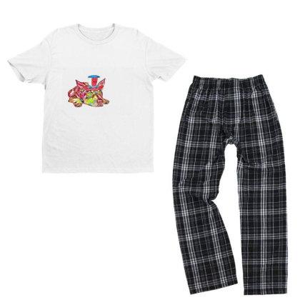 Dog Laying Flat Wearing Red, Youth T-shirt Pajama Set Designed By Kemnabi