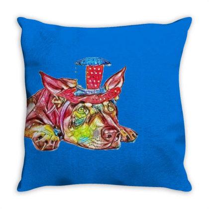 Dog Laying Flat Wearing Red, Throw Pillow Designed By Kemnabi